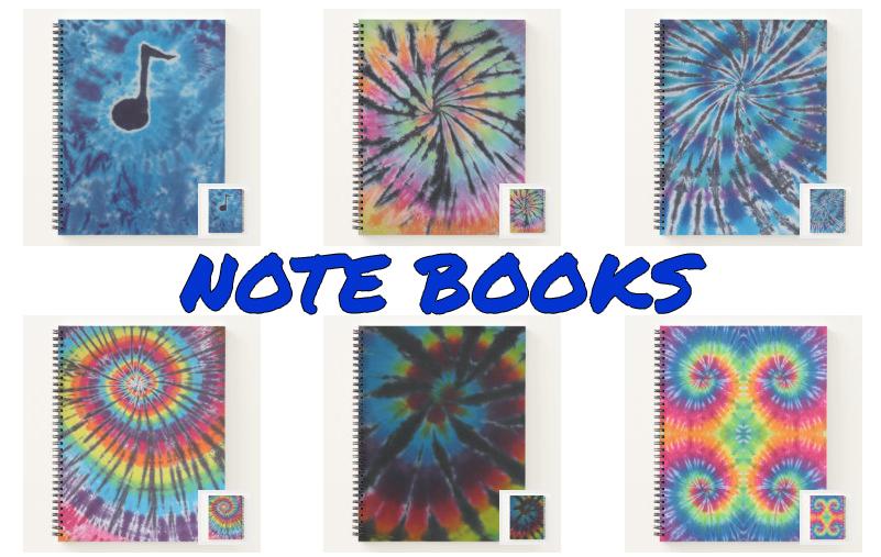 tie dye note books from zazzle
